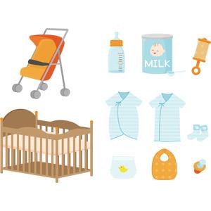 フリーイラスト, ベクター画像, AI, 育児用品, 乳母車(ベビーカー), ベビーベッド, 哺乳瓶, 粉ミルク, ガラガラ, ベビー服 , おむつ(おしめ), よだれかけ, おしゃぶり