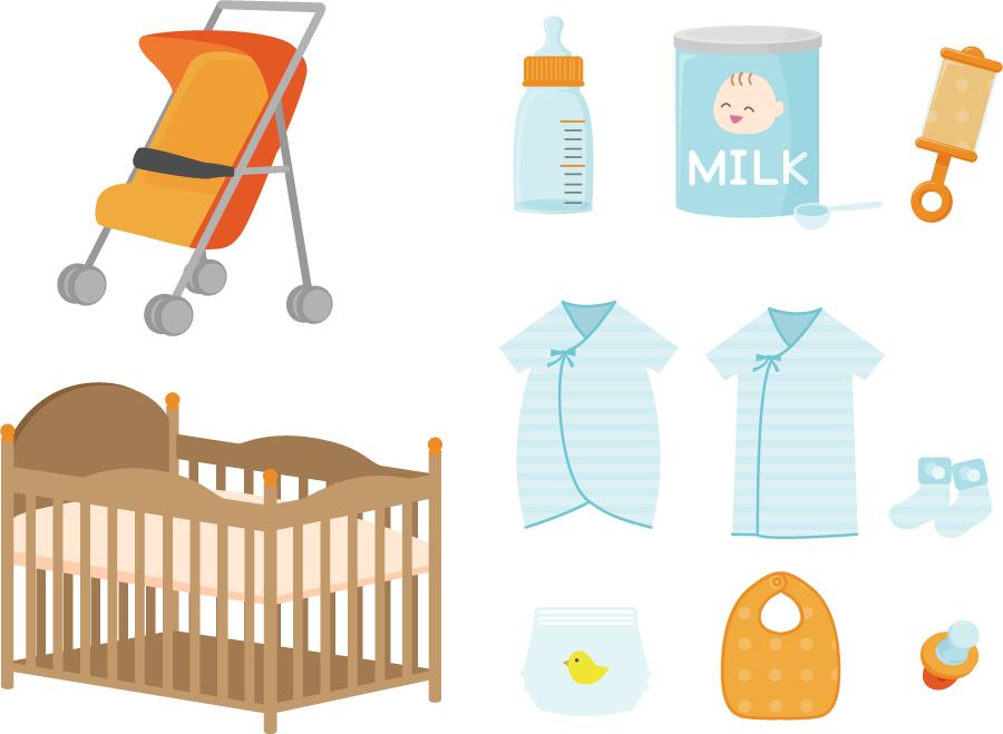 フリーイラスト 11種類の育児用品のセット