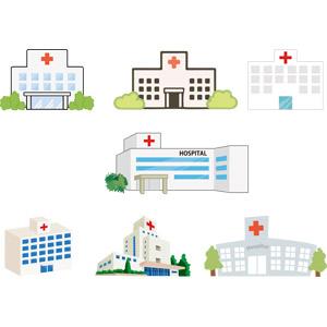 フリーイラスト, ベクター画像, EPS, 建造物, 建築物, 病院, 医療