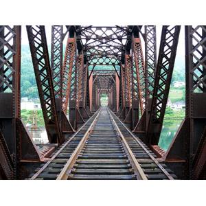 フリー写真, 風景, 建造物, 鉄橋, 線路(鉄道)