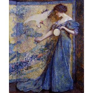 フリー絵画, ロバート・リード, 人物画, 女性, 手鏡, 屏風, 鶴(ツル), ドレス
