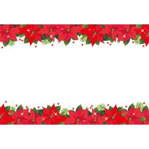 フリーイラスト, ベクター画像, EPS, 背景, フレーム, 上下フレーム, 花, ポインセチア, 赤色の花, クリスマス, 12月