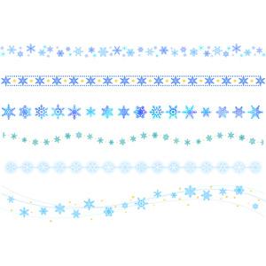 フリーイラスト, ベクター画像, AI, 飾り罫線(ライン), 雪, 雪の結晶, 冬