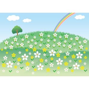 フリーイラスト, ベクター画像, AI, 風景, 自然, 丘, 植物, 花, 樹木, 虹, 青空
