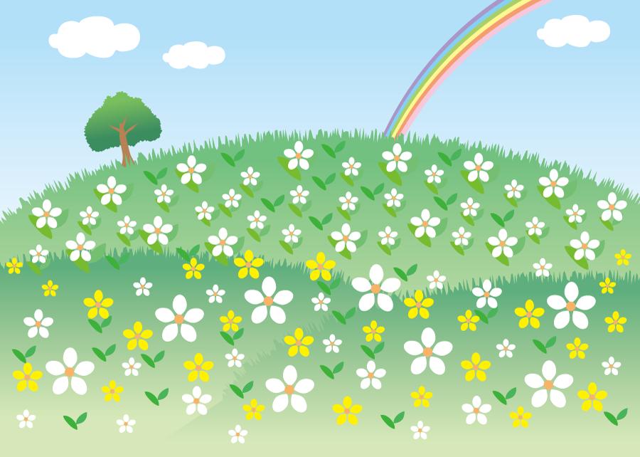 フリーイラスト 花の咲く丘と虹の風景