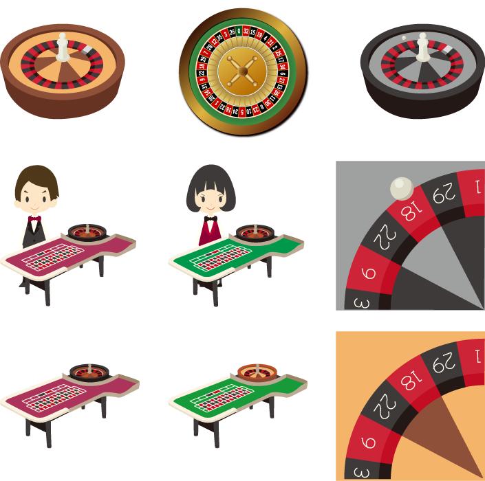 フリーイラスト 9種類のカジノゲームのルーレットのセット