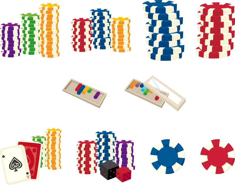 フリーイラスト 10種類のカジノチップとチップケースのセット