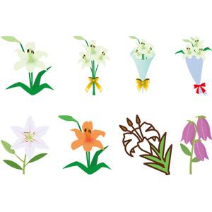 フリーイラスト, ベクター画像, EPS, 植物, 花, 百合(ユリ), 花束