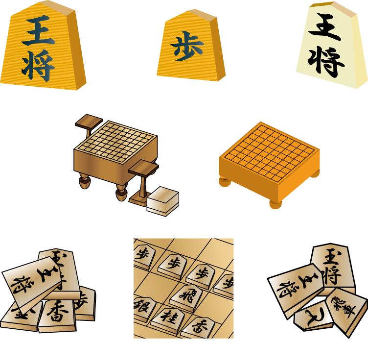 フリーイラスト 8種類の将棋のセット