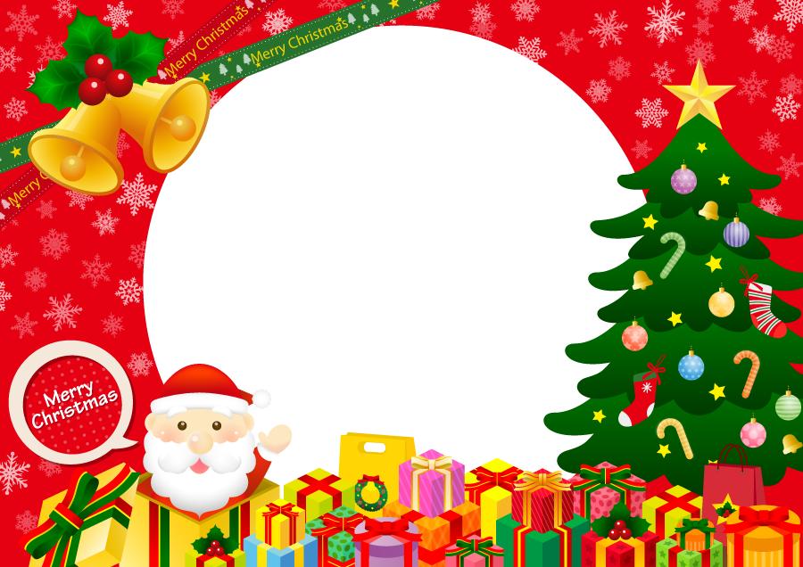 フリーイラスト サンタとプレゼントとツリーのクリスマスフレーム