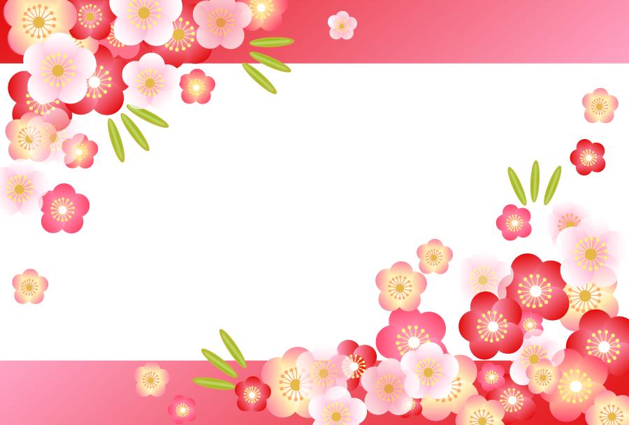フリーイラスト 竹と梅の新春の飾り枠