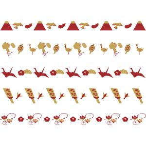 フリーイラスト, ベクター画像, AI, 飾り罫線(ライン), 年中行事, 正月, 元旦(元日), 1月, 富士山, 鷹(タカ), 茄子(なすび), 打ち出の小槌, 亀(カメ), 鶴(ツル), 折り鶴, 梅(ウメ), 松(マツ), 羽根突き, 独楽(こま), 羽子板