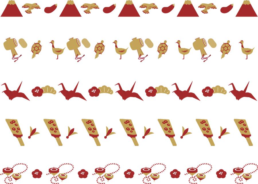 フリーイラスト 一富士二鷹三茄子などのお正月の縁起物の飾り罫線のセット