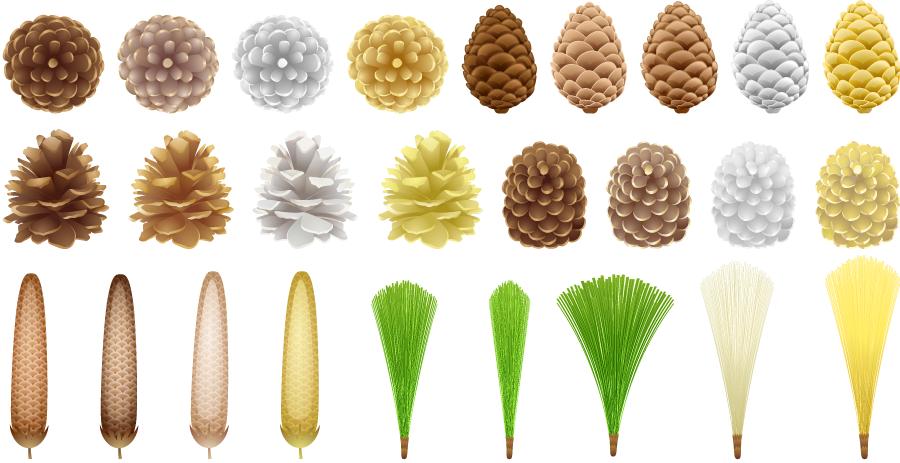 フリーイラスト 26種類のまつぼっくりと松葉のセット