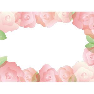 フリーイラスト, ベクター画像, AI, 背景, フレーム, 囲みフレーム, 植物, 花, 薔薇(バラ), ピンク色の花