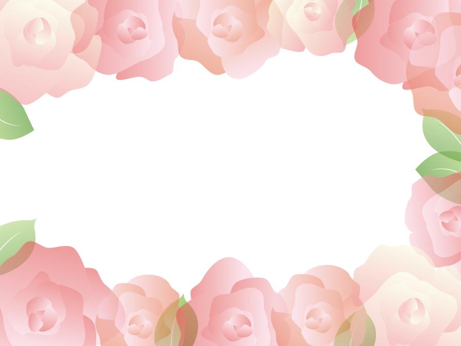 フリーイラスト ピンク色のバラの花のフレーム