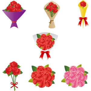 フリーイラスト, ベクター画像, AI, 植物, 花, 薔薇(バラ), 花束, プレゼント