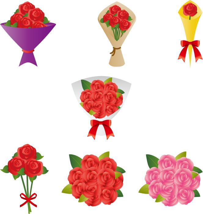 フリーイラスト 7種類の薔薇の花束のセット