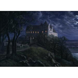 フリー絵画, エルンスト・フェルディナント・エーメ, 風景画, 建造物, 建築物, 城, 夜, ドイツの風景, 乗馬