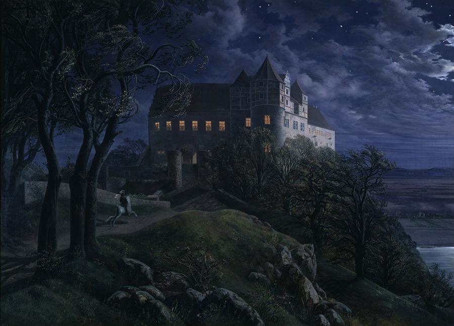 フリー絵画 エルンスト・フェルディナント・エーメ作「夜のシャーフェンシュタイン城」
