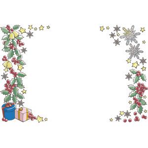 フリーイラスト, ベクター画像, EPS, 背景, フレーム, 左右フレーム, 年中行事, クリスマス, 12月, 冬, クリスマスプレゼント, セイヨウヒイラギ, 雪の結晶, クリスマスベル