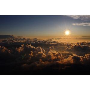 フリー写真, 風景, 自然, 太陽, 雲, 雲海, 太陽光(日光)