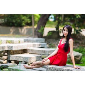 フリー写真, 人物, 女性, アジア人女性, 中国人, Neo Li(00040), ドレス, 横座り
