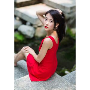 フリー写真, 人物, 女性, アジア人女性, 中国人, Neo Li(00040), ドレス, 髪を束ねる