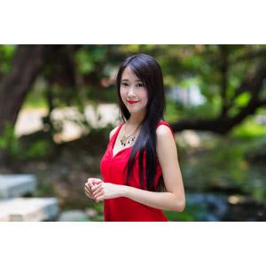 フリー写真, 人物, 女性, アジア人女性, 中国人, Neo Li(00040), ドレス, ネックレス