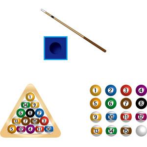 フリーイラスト, ベクター画像, AI, スポーツ, ゲーム, ビリヤード, ビリヤードボール, キュー, チョーク(ビリヤード)