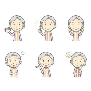 フリーイラスト, ベクター画像, AI, 人物, 老人, 祖母(おばあさん), OKサイン, ワンポイントアドバイス, ガッツポーズ, 頑張る, 分からない, 案内する, 困る, 首を傾げる, ウインク