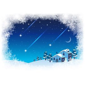 フリーイラスト, ベクター画像, AI, 背景, 雪の結晶, 流れ星(流星), 雪, 家(一軒家), 雪だるま, 夜, 冬