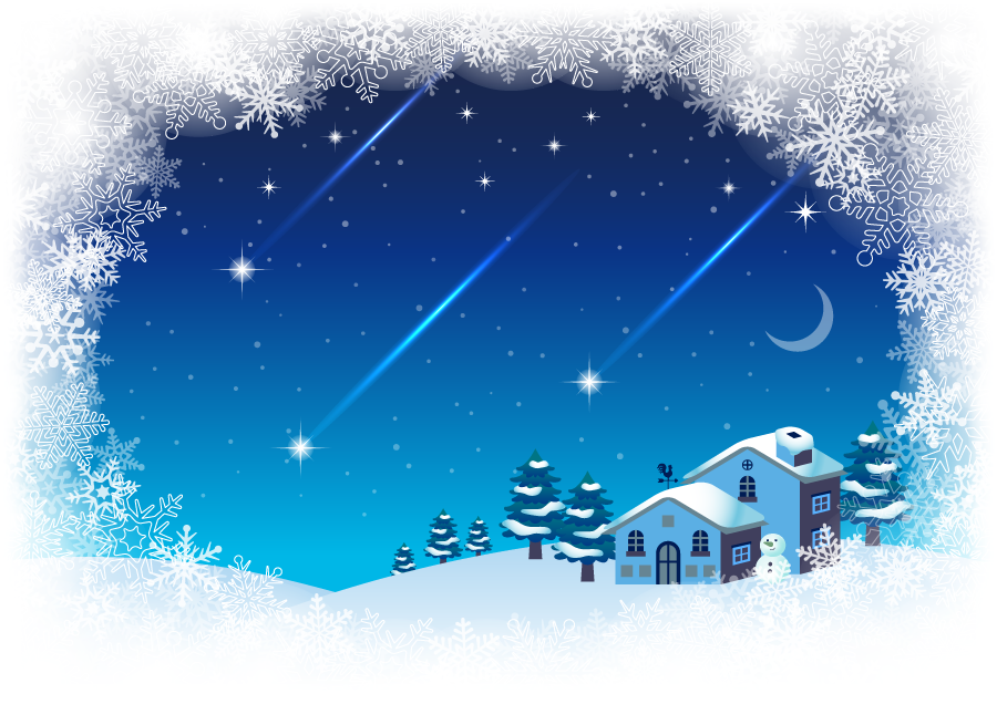 フリーイラスト 流れ星と雪の積もる民家の背景
