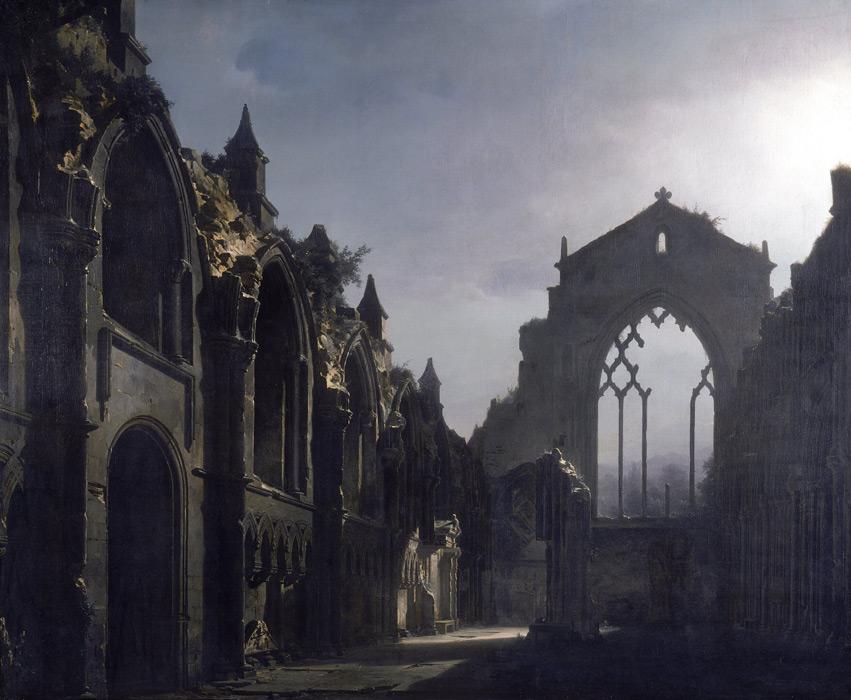 フリー絵画 ルイ・ジャック・マンデ・ダゲール作「ホリールード寺院の廃墟」