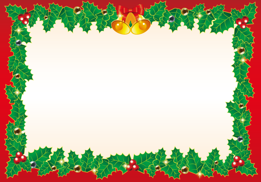 フリーイラスト セイヨウヒイラギのクリスマスの飾り枠
