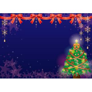 フリーイラスト, ベクター画像, AI, 年中行事, クリスマス, 12月, 冬, 蝶リボン, クリスマスツリー, 星(スター), クリスマスボール, 雪の結晶
