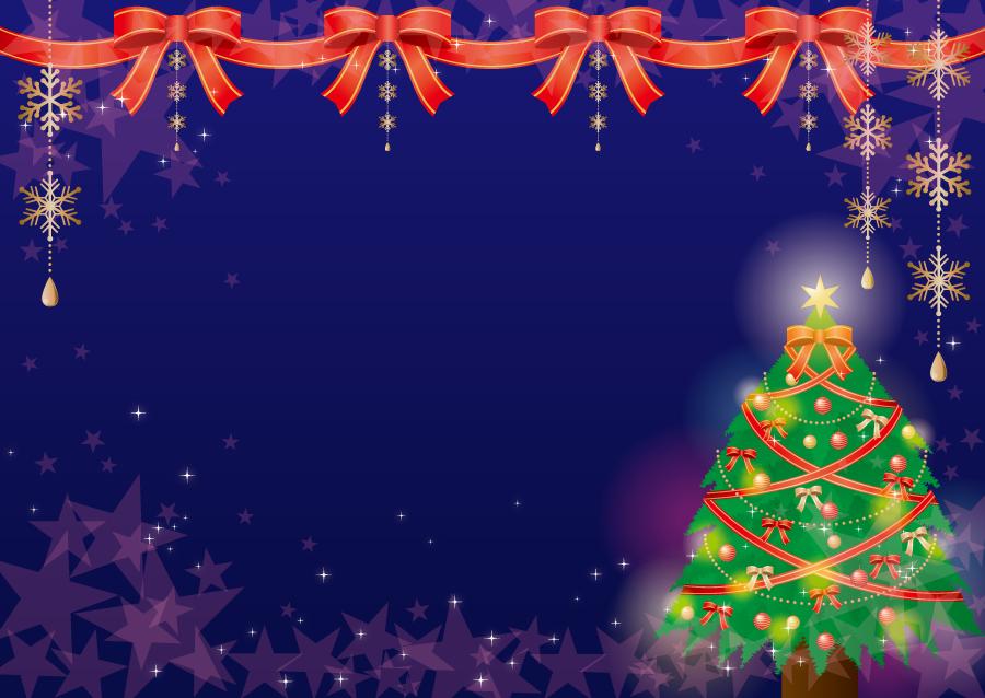 フリーイラスト リボンとクリスマスツリーの背景