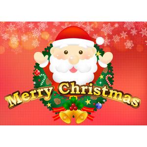 フリーイラスト, ベクター画像, AI, 年中行事, クリスマス, 12月, 冬, サンタクロース, 万歳(バンザイ), クリスマスリース, メリークリスマス, クリスマスベル, セイヨウヒイラギ, 雪の結晶