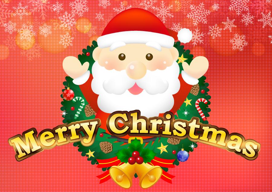 フリーイラスト クリスマスリースとサンタクロースのクリスマス背景