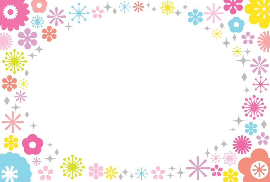 フリーイラスト 花柄の飾り枠