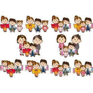 フリーイラスト, ベクター画像, AI, 年中行事, 七五三, 11月, 日本神道, 着物, 人物, 家族, 親子, 父親(お父さん), 母親(お母さん), 娘, 息子, 子供, 千歳飴, 和服, 紋付羽織袴