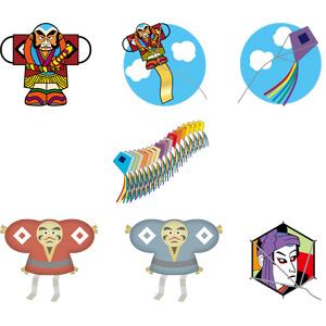 フリーイラスト, ベクター画像, AI, 玩具(おもちゃ), 凧(たこ), 子供の遊び, 正月, 1月