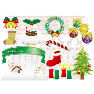 フリーイラスト, ベクター画像, AI, 年中行事, クリスマス, 12月, 冬, メリークリスマス, クリスマスベル, セイヨウヒイラギ, クリスマスボール, クリスマスケーキ, キャンディケイン, 帯リボン, サンタブーツ, クリスマスツリー, ろうそく(ロウソク), 雪だるま, 家(一軒家), クリスマスリース