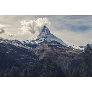 フリー写真, 風景, 自然, 山, マッターホルン, アルプス山脈, スイスの風景, イタリアの風景, 雲