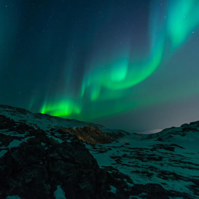 フリー写真 ノルウェーのオーロラの風景