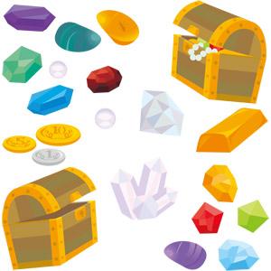 フリーイラスト, ベクター画像, EPS, 宝箱, 金貨, 銀貨, 宝石, 金塊, 水晶(クリスタル), ダイヤモンド, 真珠(パール), 琥珀(アンバー)