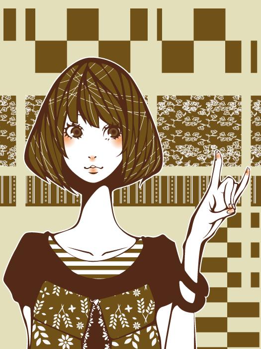 フリーイラスト 影絵のキツネの手をした少女