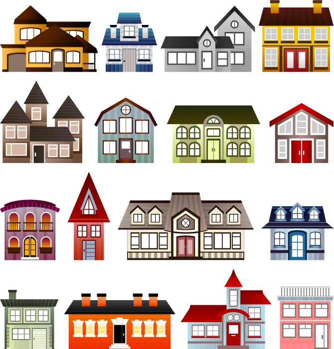 フリーイラスト 16種類の家のセット