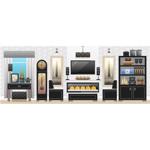 フリーイラスト, ベクター画像, SVG, 風景, 部屋, リビングルーム, 暖炉, テレビ(TV), スピーカー, 本棚, ソファー, 時計