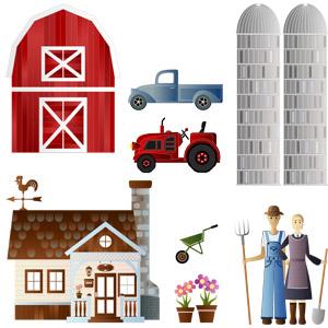 フリーイラスト, ベクター画像, EPS, 人物, カップル, 夫婦, 農家(農民), 小屋(納屋), サイロ, ピックアップトラック, 自動車, トラクター, 家(一軒家), 手押し車(一輪車), 植木鉢, スコップ(シャベル), ピッチフォーク, 家畜小屋
